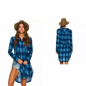 FREE PEOPLE Plaid Longline Button Down Tunic